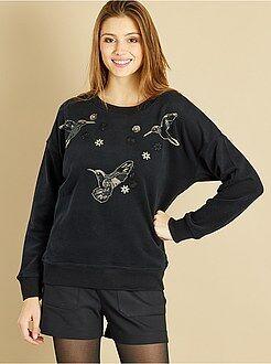 Femme du 34 au 48 Sweat brodé sequins oiseaux et fleurs