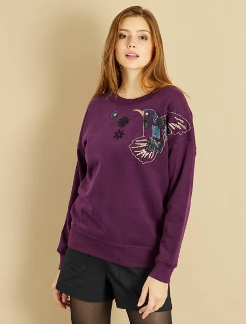 Sweat brodé sequins oiseaux et fleurs violet Femme