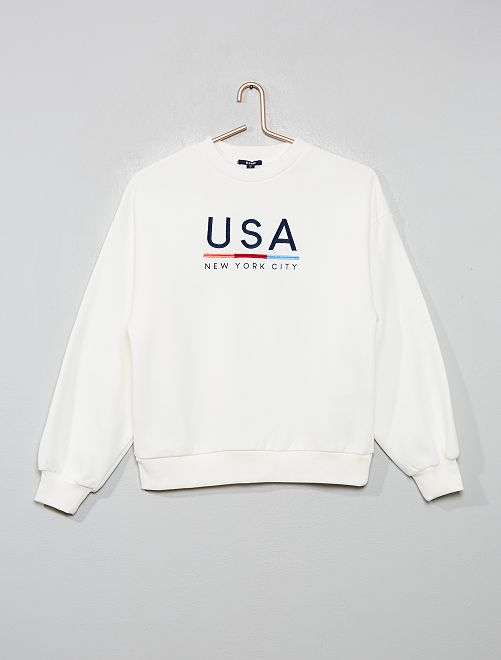 Sweat brodé 'USA'                                         blanc