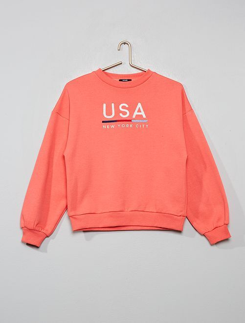 Sweat brodé 'USA'                                         rose