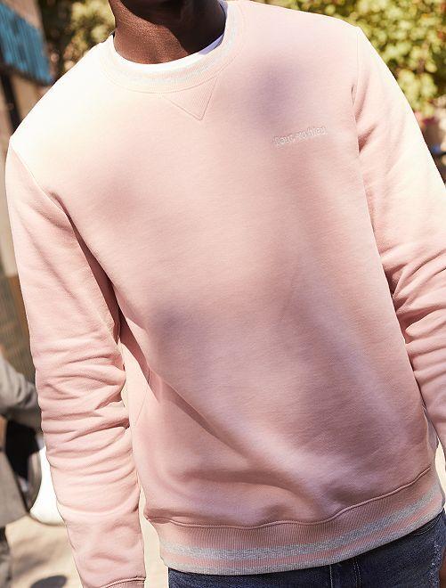 Sweat broderie poitrine                     rose pâle
