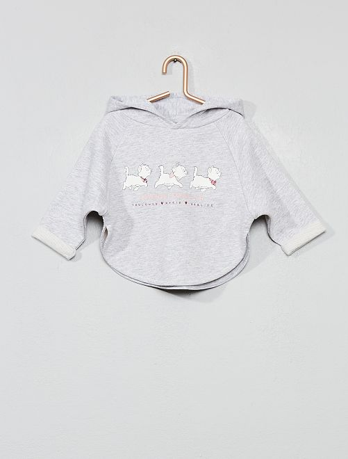 Sweat cape en molleton 'Les Aristochats'                             gris chiné Bébé fille