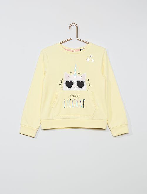 Sweat 'chat' avec poche                                         jaune