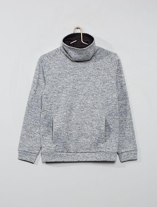 Sweat col roulé en maille chinée doublé polaire                                         gris