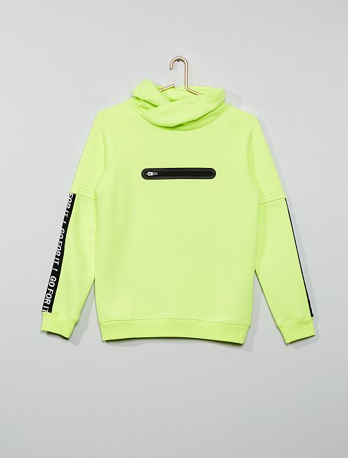 Sweat col tubulaire                                         jaune fluo