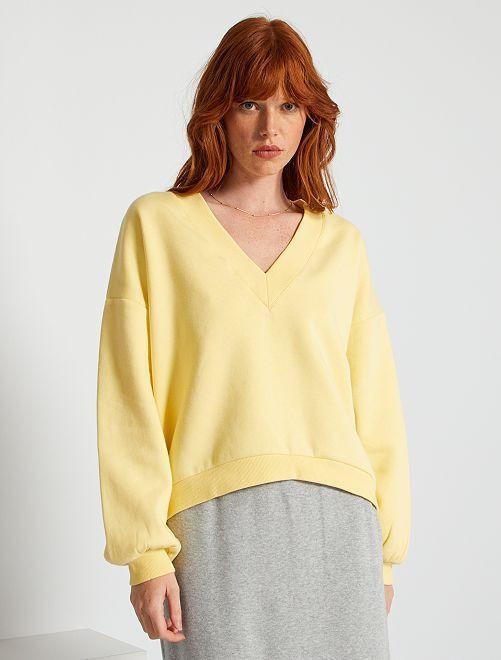 Sweat col V                                                                 jaune doux
