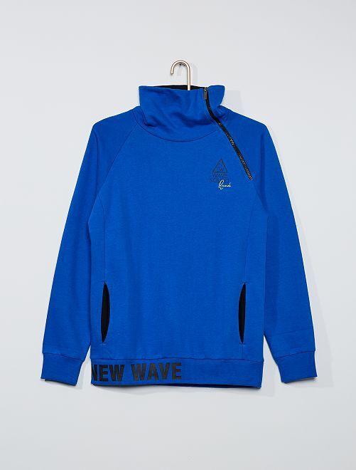 Sweat col zippé asymétrique                             bleu