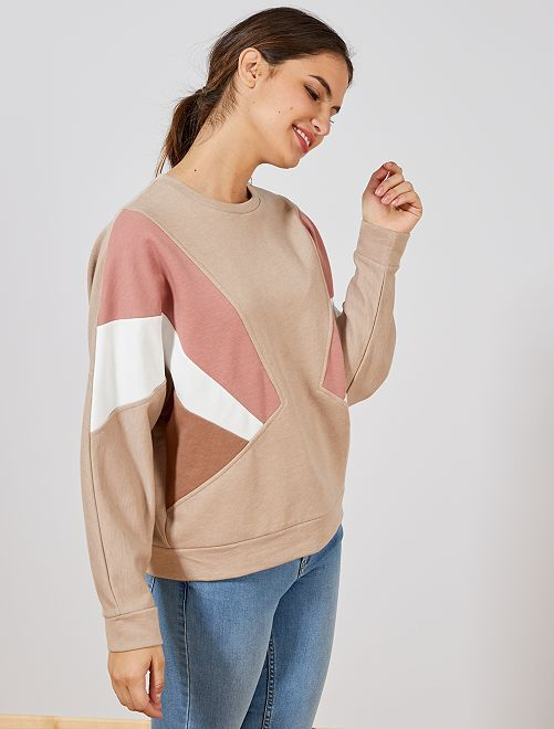 Sweat color-block                             beige