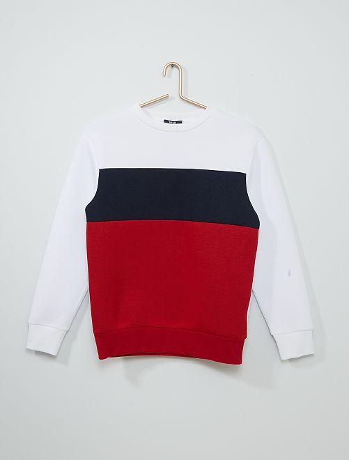 Sweat 'color block'                                         blanc/bleu/rouge