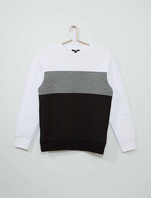Sweat 'color block'                                                     blanc/gris/noir