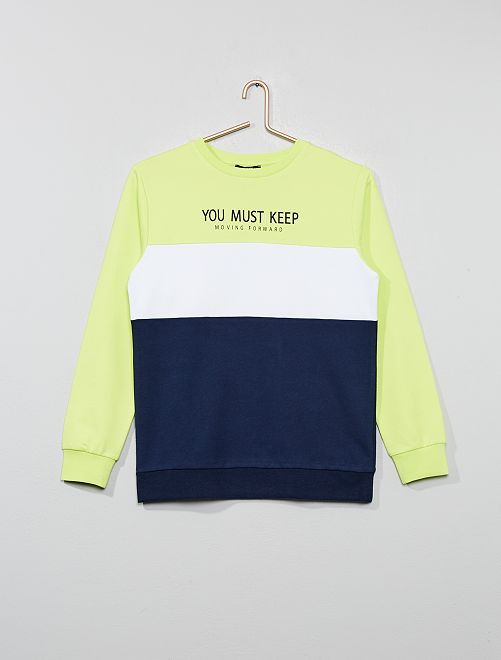 Sweat color-block                             bleu/vert