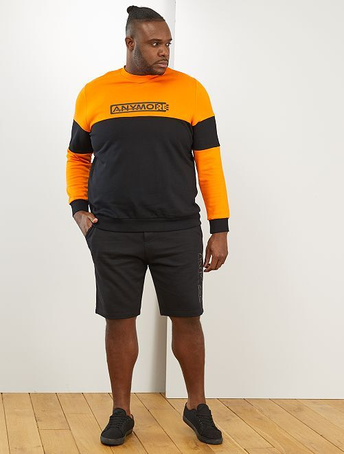 Sweat color block 'éco-conception'                             orange/noir