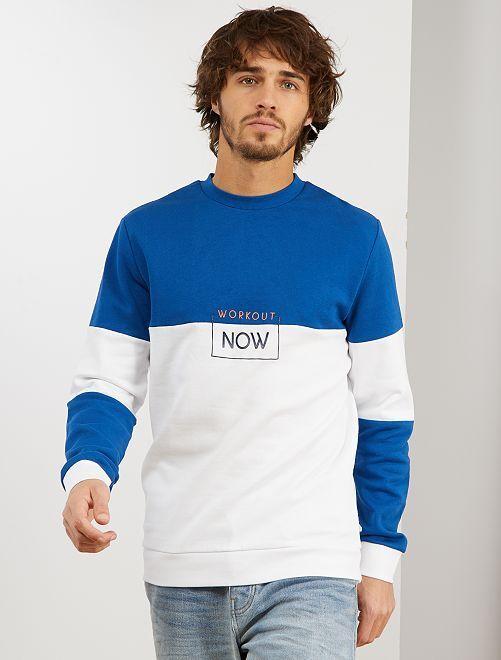 Sweat color block éco-conçu                             blanc/bleu