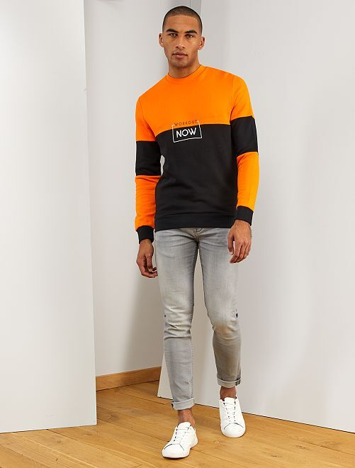 Sweat color block éco-conçu                                         orange/noir