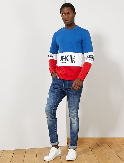 Sweat color block message                                         bleu/blanc/rouge