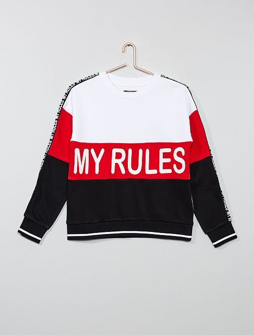 Sweat color-block 'My rules'                             blanc