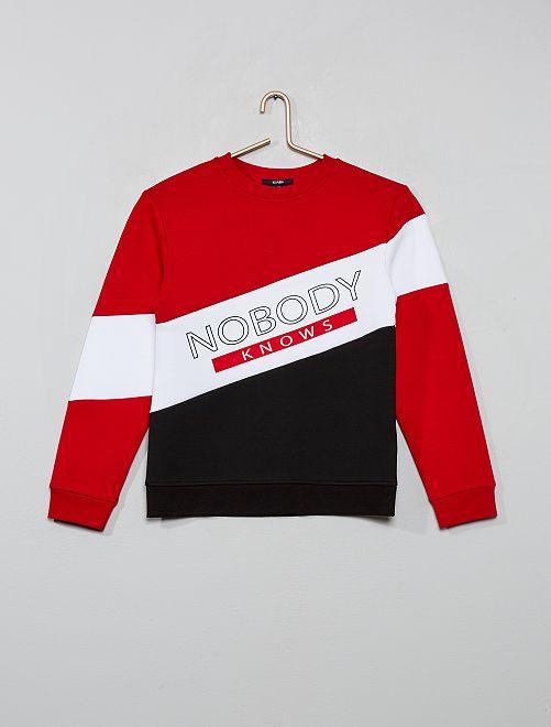 Sweat color block                                         noir/rouge/blanc