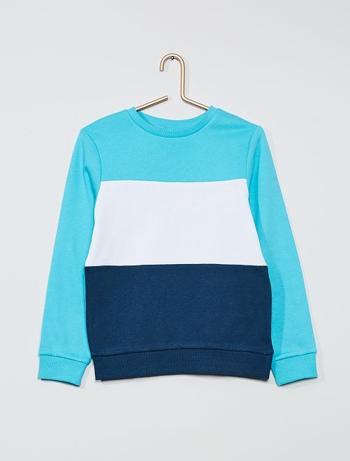 Sweat 'color block' tricolore                                                                 bleu curacao