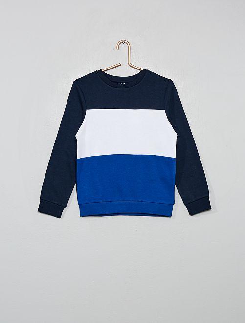 Sweat 'color block' tricolore                                 marine/blanc/bleu