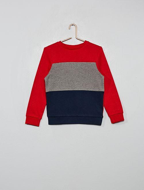 Sweat 'color block' tricolore                                                                 rouge/gris/marine