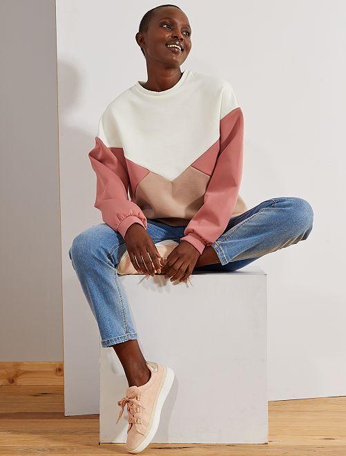 Sweat colorblock en néoprène                                         beige/rose Femme