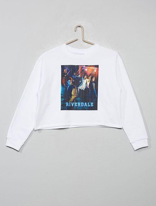 Sweat cropped 'Riverdale'                                         blanc