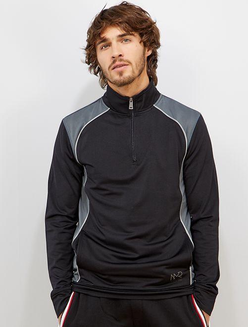 Sweat de sport col zippé                             noir