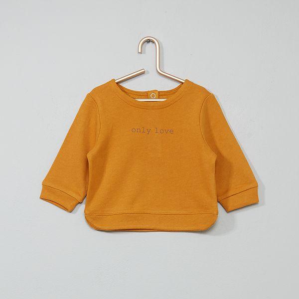 Sweat en coton Bébé fille - jaune moutarde