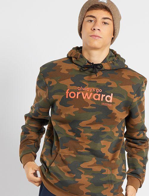 Sweat en molleton à capuche camouflage                                                     kaki camouflage