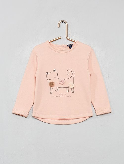 Sweat en molleton 'chat et pompons'                                                                             rose chat
