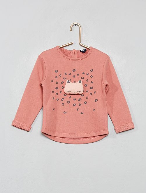Sweat en molleton 'pompons'                                 rose chat