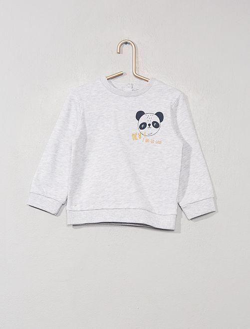 Sweat en molleton                                                                                                                 gris chiné panda