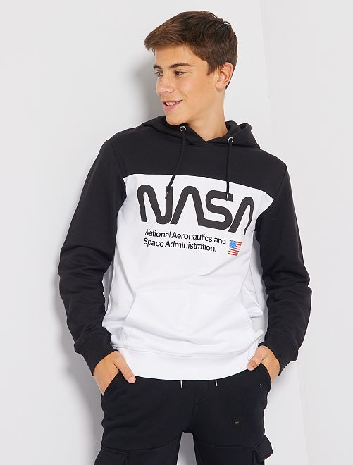 Sweat en molleton 'NASA'                             blanc/noir