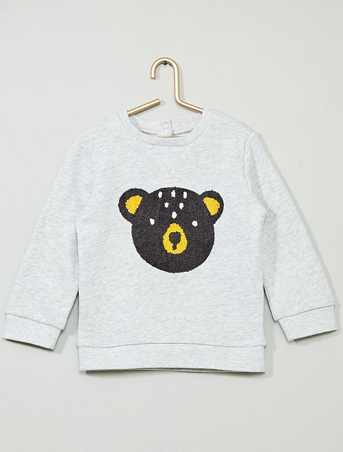 Sweat en molleton 'ours'                                         gris/ours