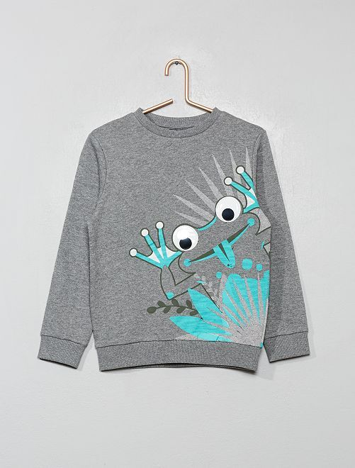 Sweat 'grenouille' animé                                         gris chiné