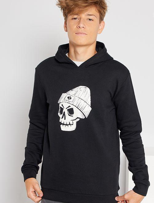 Sweat imprimé à capuche éco-conçu                                                                 noir squelette