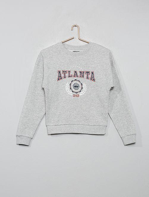 Sweat imprimé 'Atlanta'                                                                                                                                         gris chiné