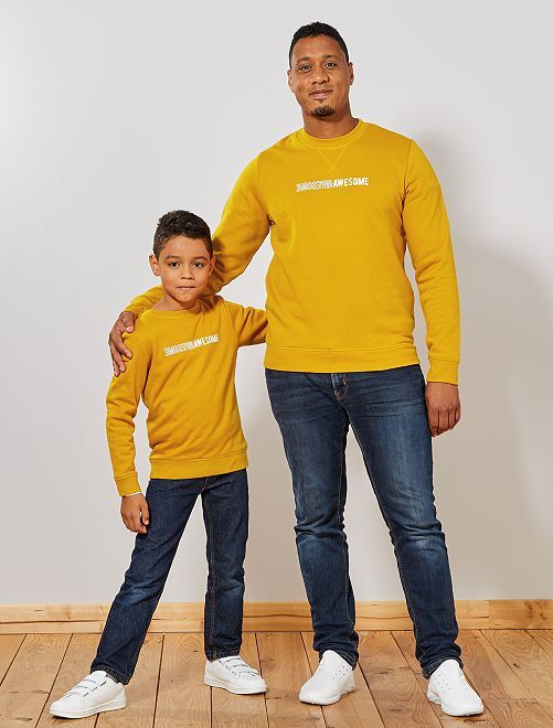 Sweat imprimé 'Awesome'                                                                                                     jaune moutarde Homme