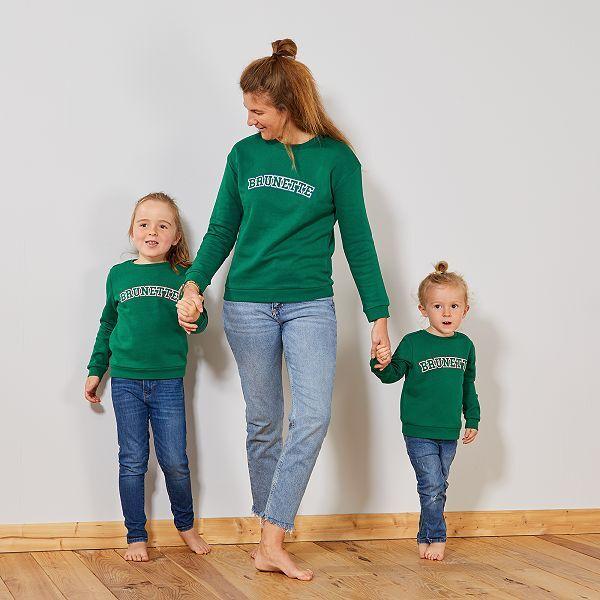 Sweat imprimé 'Brunette' Femme - vert - Kiabi