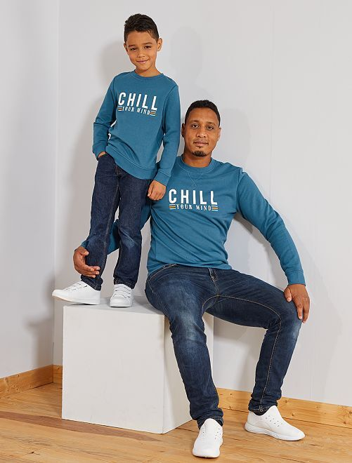 Sweat imprimé 'Chill'                                                                                                                                         bleu