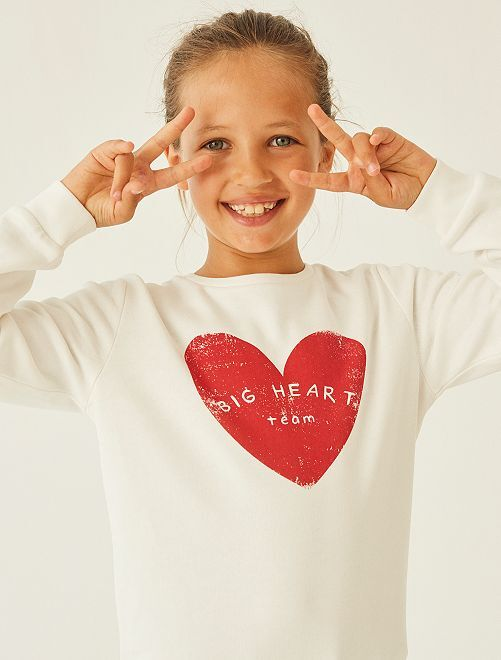 Sweat imprimé éco-conçu                                                                                                                                                                             écru coeur
