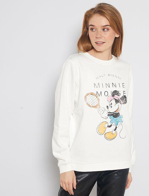 Sweat imprimé 'Minnie'                             blanc cassé