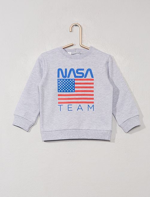 Sweat imprimé 'NASA'                             gris chiné