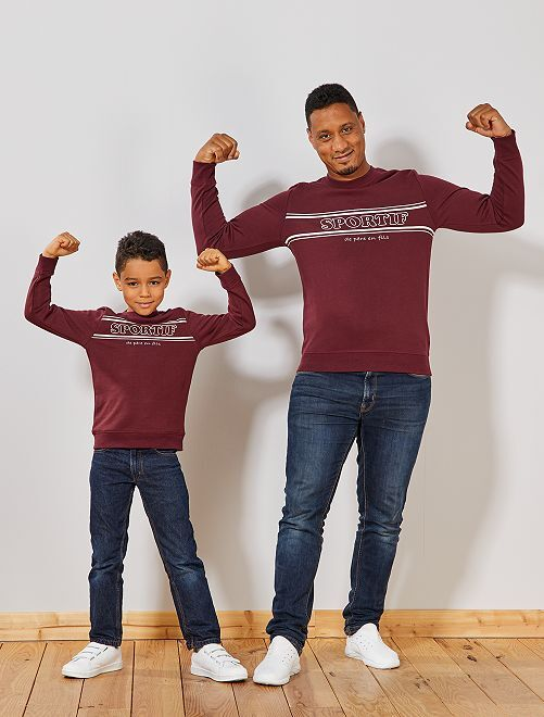 Sweat imprimé 'Sportif'                                         bordeaux