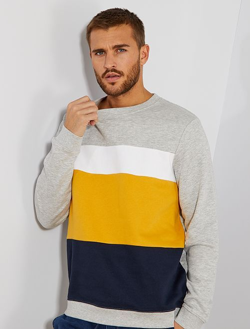Sweat léger coloblock                                                                 gris chiné Homme