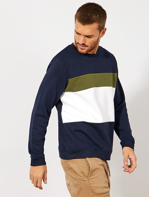 Sweat léger coloblock                                             marine Homme