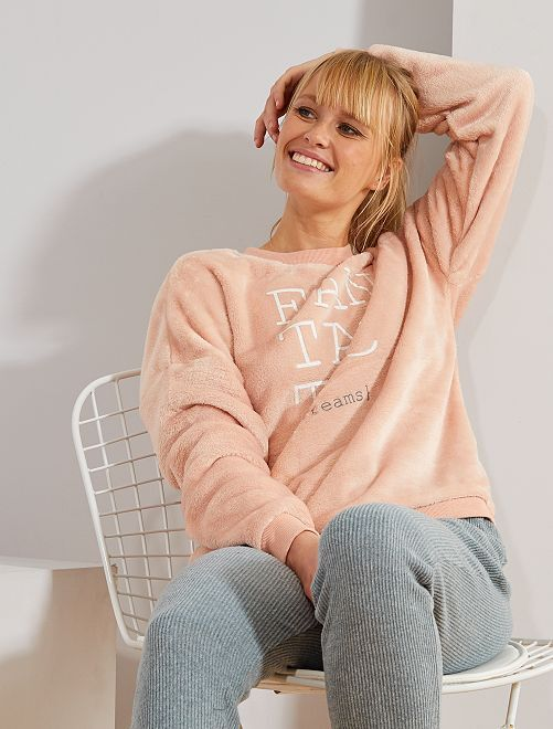 Sweat maille peluche                                                     rose