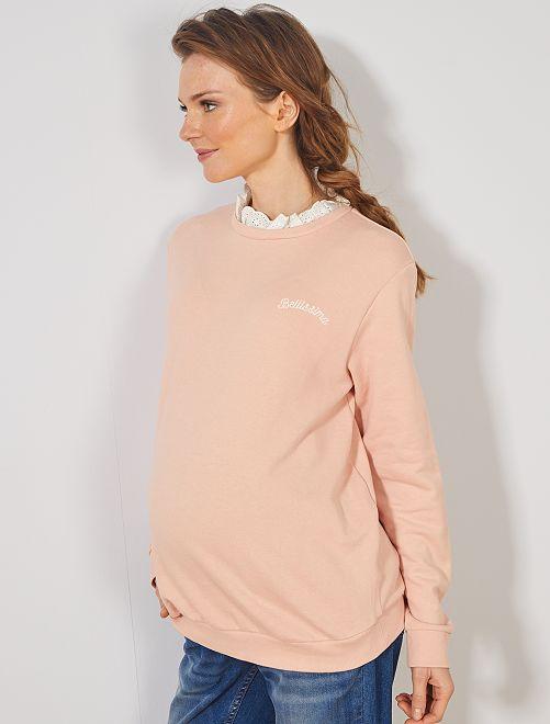 Sweat maternité col dentelle                                         rose
