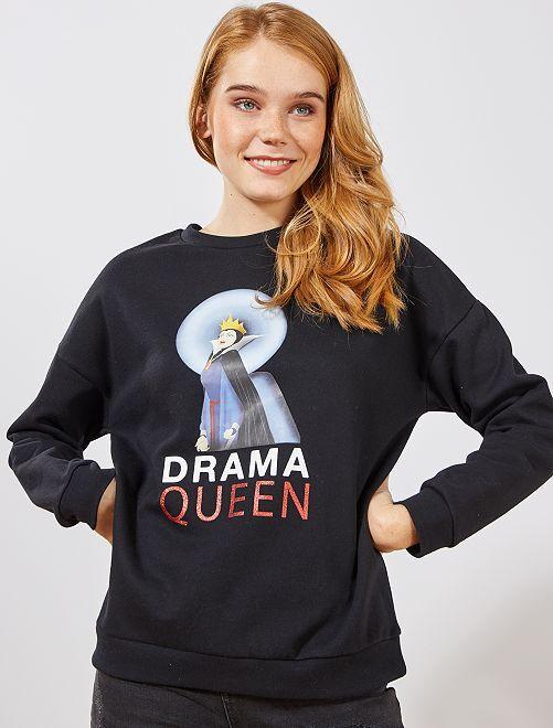 Sweat 'méchante reine' de 'Disney'                                         noir méchante reine