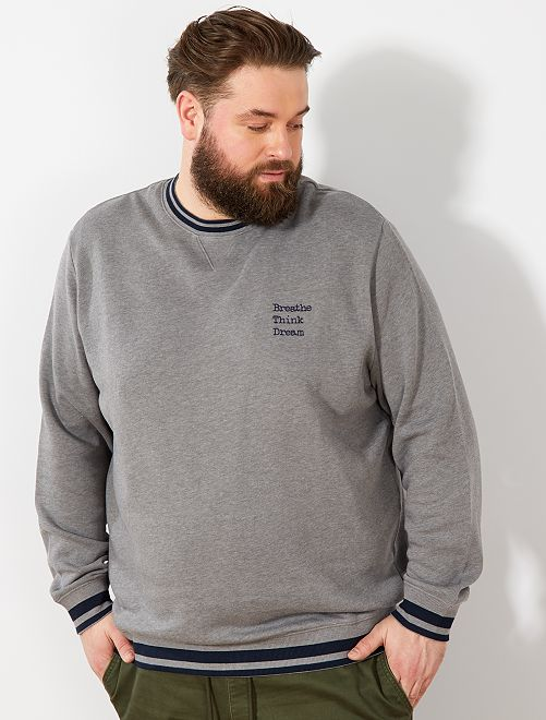 Sweat message brodé                             gris Grande taille homme